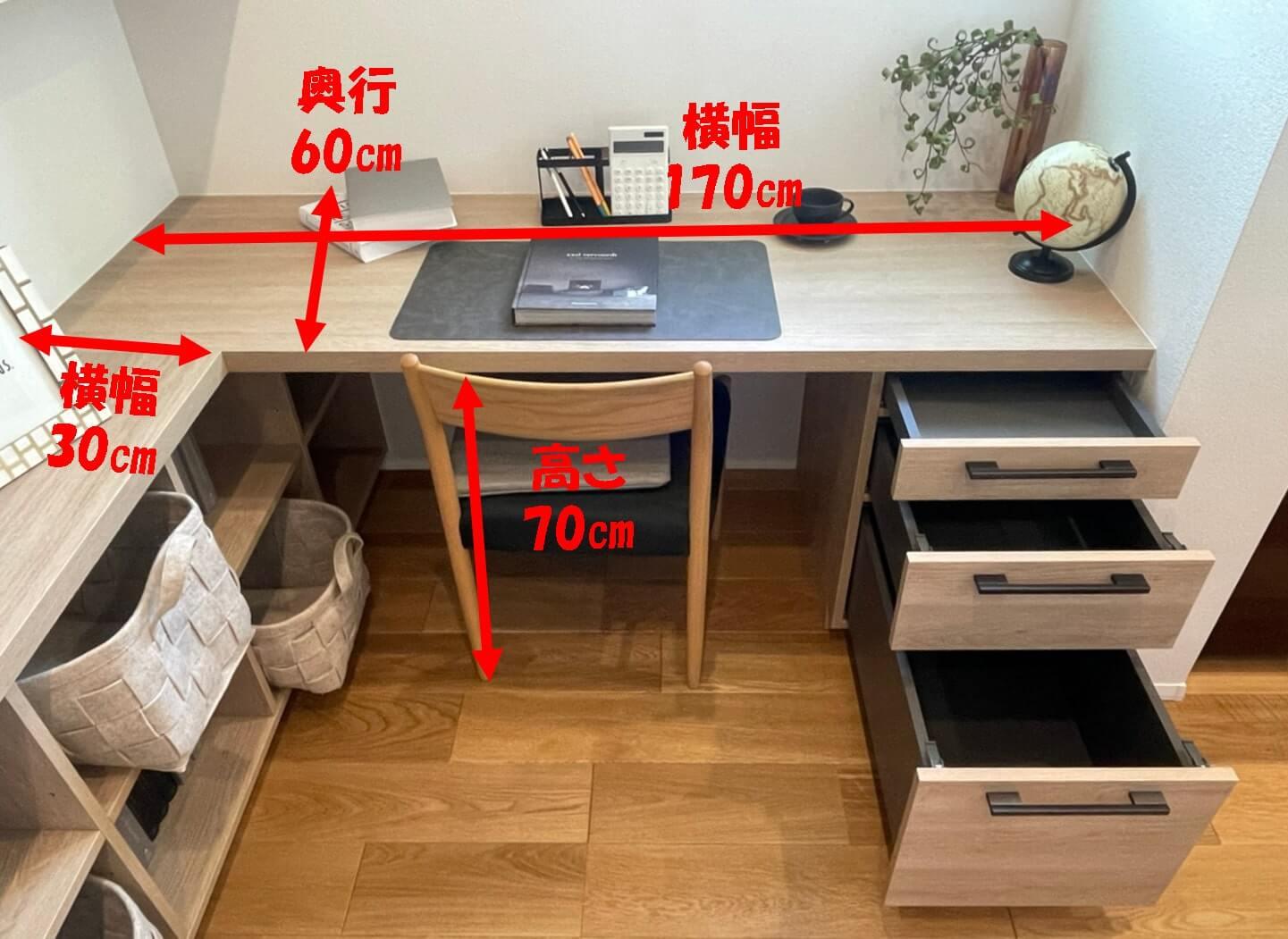 書庫ユニット机の寸法の画像