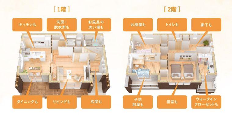 一条工務店の全館床暖房の画像