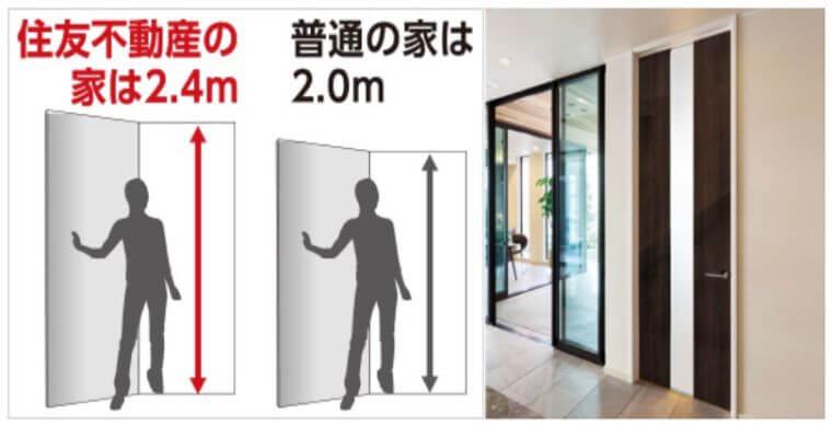 住友不動産のドアの高さ240㎝の画像
