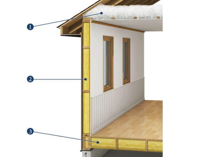 スウェーデンハウスの断熱材施工の画像