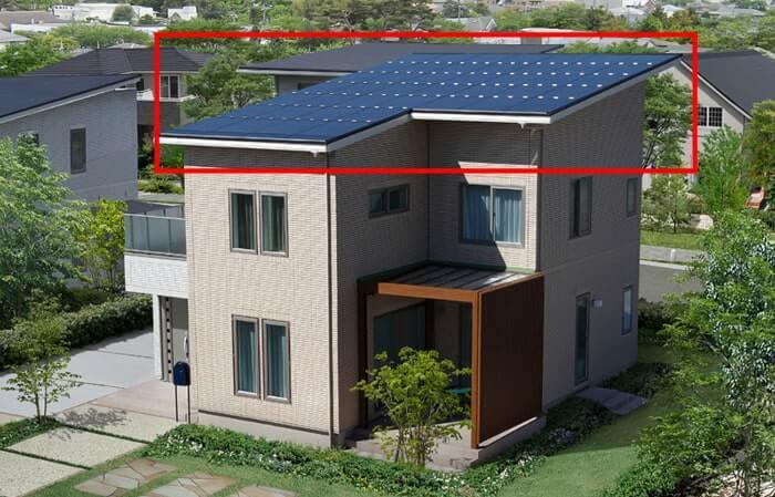 一条工務店の片屋根・太陽光の軒の画像